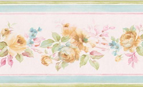 """バラブケペールピンクの花の壁紙ボーダーレトロなデザインロール15に黄色の'x 3.5 """""""