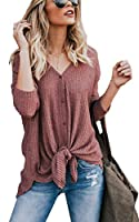 ECOWISH Womens Waffle Knit Tunic Blouse Tie Knot Henley Tops Loose Fitting Bat Wing Plain Shirts