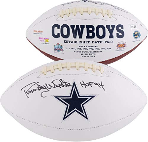 (Randy White Dallas Cowboys Autographed White Panel Football with