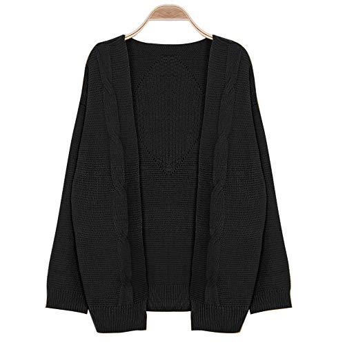 Hiver Ouvrir Solide VTements Automne Manteau Unie Manteau Poche Femmes Face Longues Devant Chandail Hiver Cardigan Aux Manches Femme De Noir Femme pour PRA74q