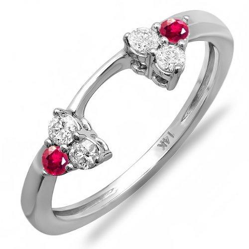DazzlingRock Collection Anillo de Bodas Redondo de Oro 14K Oro rubí y Diamante Anillo de Boda
