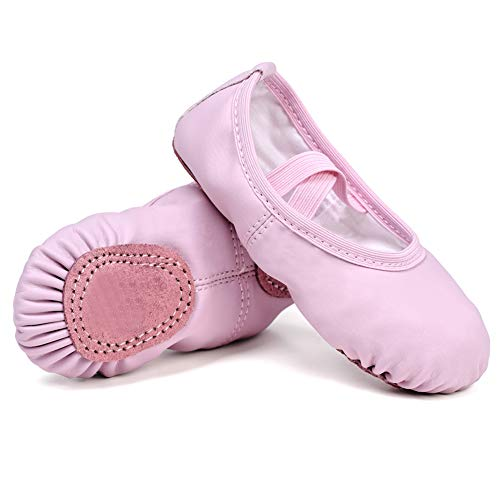 STELLE Girls Ballet Practice Shoes, Yoga Shoes for Dancing (Pink, 8M Toddler)]()