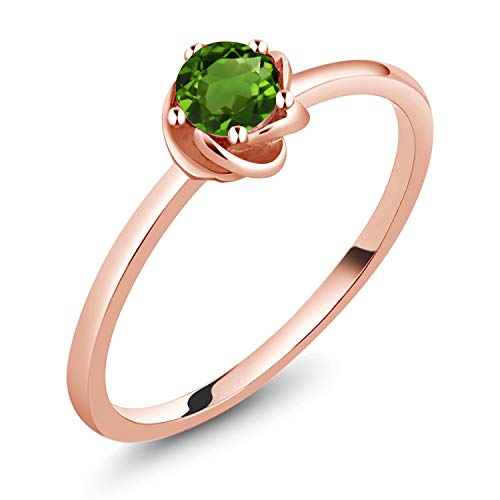 (0.50 Ct Round Green Chrome Diopside 10K Rose Gold Ring (Size)