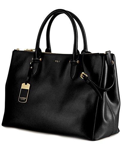 Ralph Lauren 431186080-KDJ Women's Newbury Double-Zip Satchel, Black/Gold