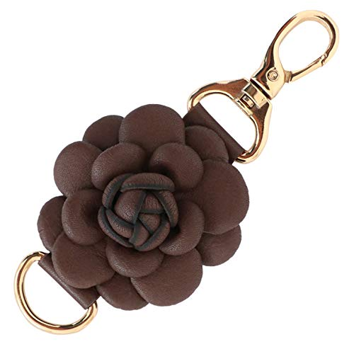 Genuine Leather Handmade Rose Charms | Pom Pom Keychain | for Tassel Bags Purse Backpack (Coffee - Rose)