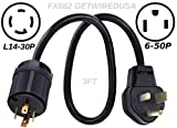 getwiredusa Generator L14-30P Twist Lock 4-Pin Plug to 6-50P 3-Prong Welder Plug NEMA Electric Power Back Feed House Male Adapter 3ft