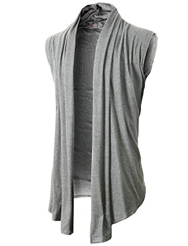 H2H Men's Shawl Collar Sleeveless Cardigan with No Button LightGray US L/Asia XL (KMOCASL01) (Asia Relaxing Body)