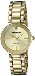 Armitron Women's 75/5374CHGP Diamond-Accented Gold-Tone Bracelet Watch
