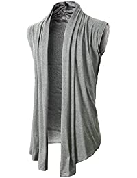 Mens Casual Shawl Collar Cardigan Sleeveless Sweaters With No Button