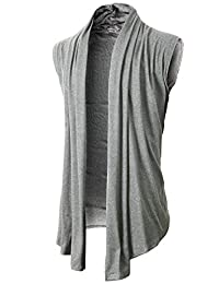 H2H Men's Shawl Collar Sleeveless Cardigan With No Button LIGHTGRAY US 2XL/Asia 3XL (KMOCASL01)