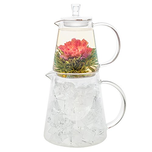Teabloom - CLEARANCE SALE - MIGH-TEA Brewing Teapots for Iced Tea and Hot Tea, 2 Loose Tea Glass Infusers, 2 Glass Lids