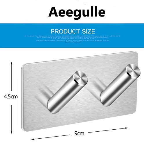 Self Adhesive Hooks,Robe Hooks Towel Stands Office Strong Sticky Wall Hook Bathroom Toilet Kitchen Waterproof and Rust-Proof Bath Towel Hooks by Aeegulle 4 Pieces CT