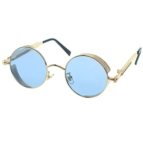Metal Sunglasses UV400 Men Frame for Steampunk Youtato Vintage Travelling Retro Shopping HD Driving Glasses gold Protection Polarized Sun Lens Women Sports Outdoor Blue Frame COqCxwYf5
