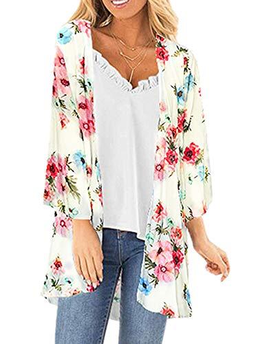 - Womens Floral Kimono Cardigans Sheer Print Chiffon Loose Beach Cover ups (Apricot,L