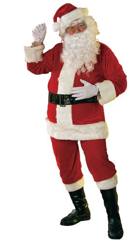 Rubie's Soft Velour Santa Suit With Gloves,Red/White, XX-Large