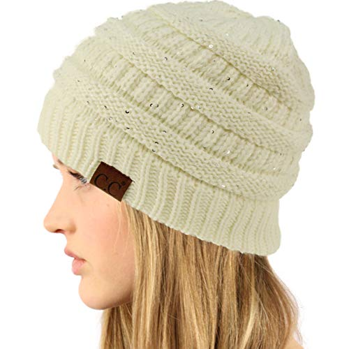 Sparkle Cap - CC Winter Trendy Soft Cable Knit Stretchy Warm Ribbed Beanie Skully Ski Hat Cap Sequins Ivory