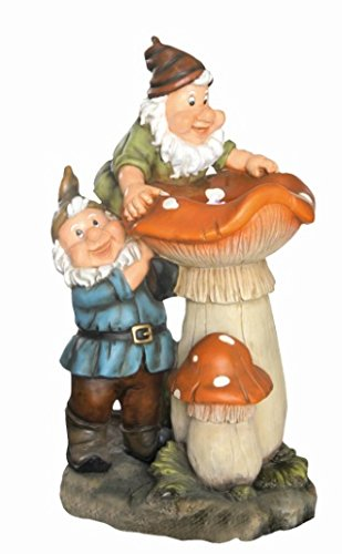 2 Gnomes on Toadstools Led Lit Garden Water Feature