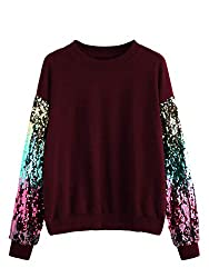 Burgundy Round Neck With Sequin Long Sleeve Sweatshirt