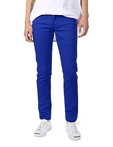 JD Apparel Men's Basic Casual Color Skinny Fit Twill Pants 30Wx32L Royal Blue - Color Shoes Pants