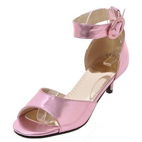 TAOFFEN Shoes Pink Women Buckle Sweet Kitten Strap Ankle Heel Mid Sandals rnrXgwaTq