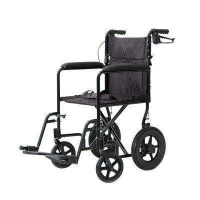 Lightweight Aluminum Transport Chair with Rear Cable Hand Brakes Color: Burgundy