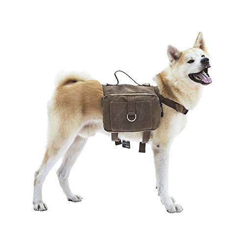 Canvas Dog Hiking Pack - Two Zippered Compartments, Fits Med - Large Dogs