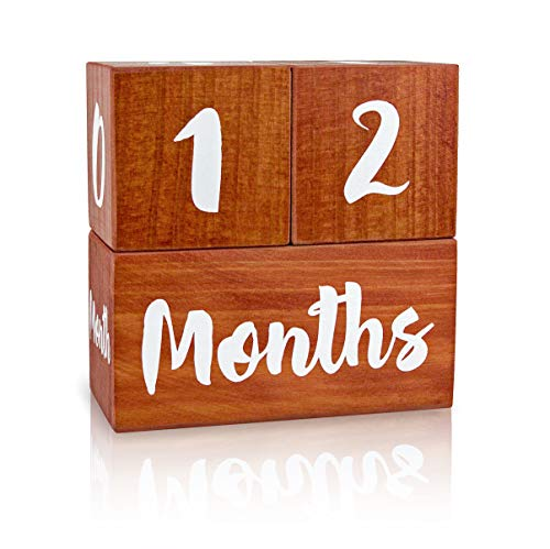 Growing Gifts Baby Milestone Blocks for Boys and Girls (3 Pc. Set) Weekly, Monthly, First Year, and Yearly Photo Props | Real, Natural Wood Keepsakes | Shower, Newborn, Infant