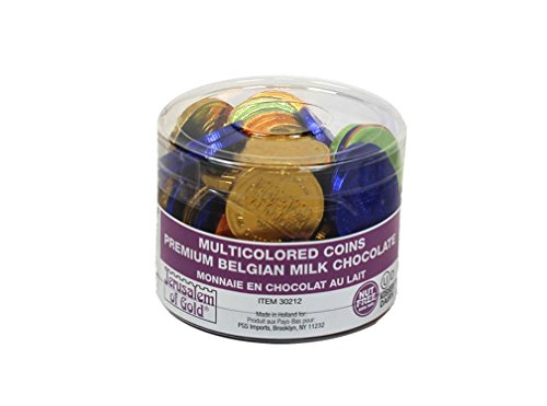 70 In a Tub Nut Free Jerusalem of Gold Milk Multicolored Foil Wrap Hanukkah Chocolate Gelt Coins ()