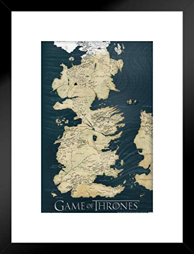(Pyramid America Game of Thrones Westeros Map HBO Fantasy Drama TV Television Series Show Matted Framed Poster 20x26 inch)