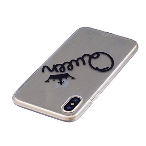 iPhone 8 Custodia , Leiai Moda Queen Trasparente Silicone Morbido TPU Cover Case Custodia per Apple iPhone 8