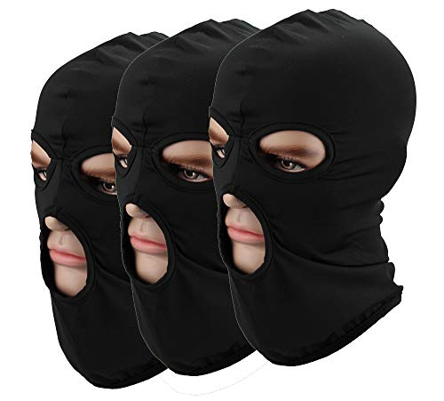 - Pack of 3 Men Hat 3 Hole Headgear Windbreak Headgear Outdoor Tactic Black Balaclava Cap Motorcycle Mask