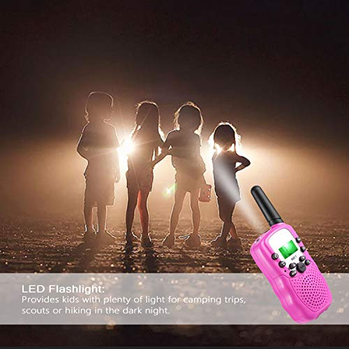 HOCOMO Walkie Talkies for Kids 3 Pack Gift for Girls Boys 22 Channels Two Way Radio 3 Miles Range Flashlight LCD Walkie Talkies for Outdoor Adventures, Camping, Hiking Blue/Pink/Yellow by HOCOMO (Image #4)