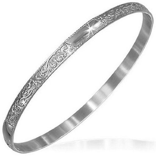 Stainless Steel Silver-Tone Flowers Floral Design Womens Bangle Bracelet - Floral Design Bangle