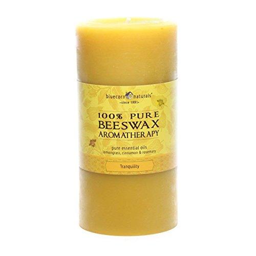 Bluecorn Beeswax 100% Pure Beeswax Aromatherapy Pillar Candle (3x6, Tranquilty:Lemongrass, Cinnamon & (Oil Pillar Candle)