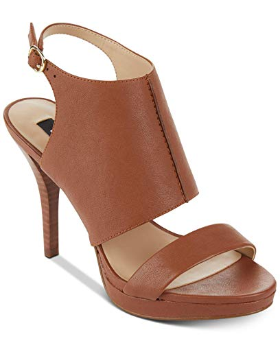DKNY Womens Bren Leather Open Toe Casual Ankle Strap Sandals, Brown, Size -