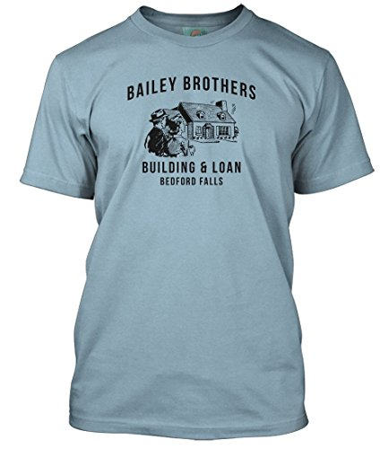 ITS A Wonderful Life Movie Inspired Building and Loan, Men's T-Shirt, X Large, Light Blue