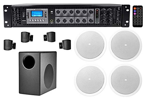 JBL Subwoofer+4 Satellite+4 Ceiling Speakers+350w Amp for Office/Store/Gym
