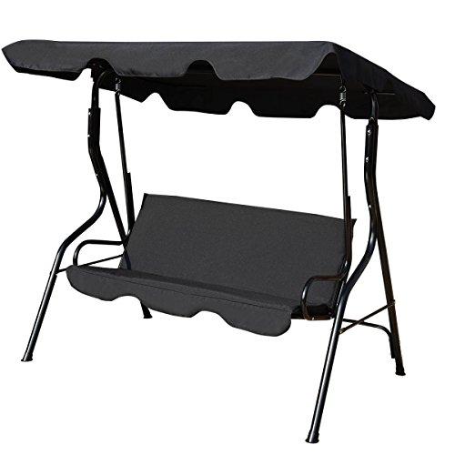 Costway Garden Swing Chair Patio Outdoor Metal Hammock Swinging Bench Lounger (3-seater) (Black)