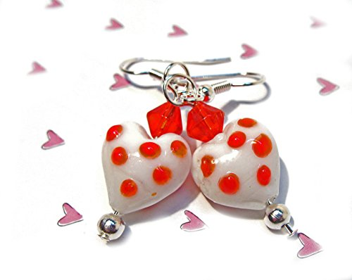 Red and White Lampwork Heart Earrings with Red Bicone Beads