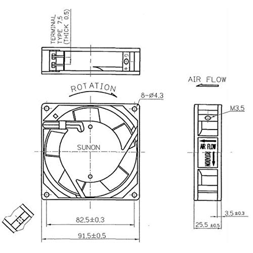 Fan Ventilador 230V 14,5W 92x92x25mm 49,2m/³//h 36dBA ; Sunon SF23092A2092HST