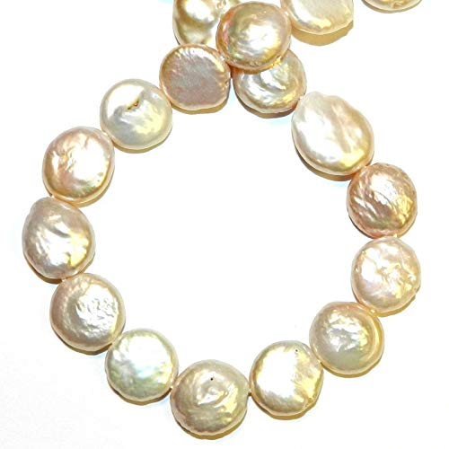 Pink Blush 12mm - 14mm Flat Round Coin Cultured Freshwater Pearl Beads 14#ID-7132 ()