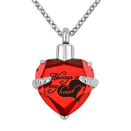 s Heart Crystal Cremation URN Necklace for Ashes Jewelry Memorial Keepsake Pendant (Always in My Heart-Red) ()