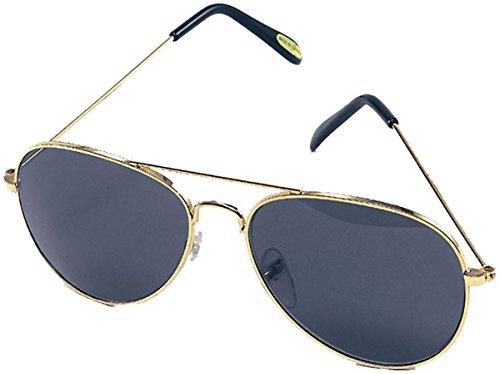 1970's Fancy Party Gold Frame Blue Shade Top Gun Elvis Aviator Biker - Glasses 1970 Frames