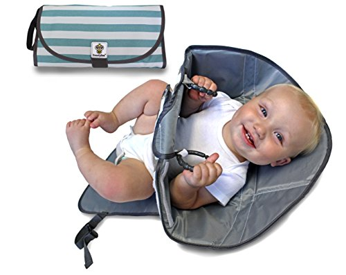 SnoofyBee Portable Clean Hands Changing Pad. 3-in-1 Diaper Clutch, Changing Station, and Diaper-Time Playmat With Redirection Barrier for Use With Infants, Babies and Toddlers (bluestripe)