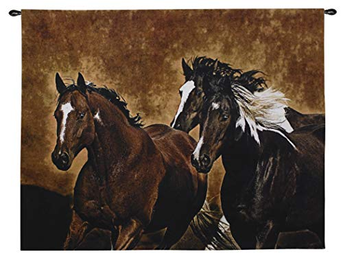 (Ready to Run by Robert Duncan | Woven Tapestry Wall Art Hanging | Three Horses Gallop in Dusty Earth Tones of Western Equine Artwork | 100% Cotton USA 53x65)