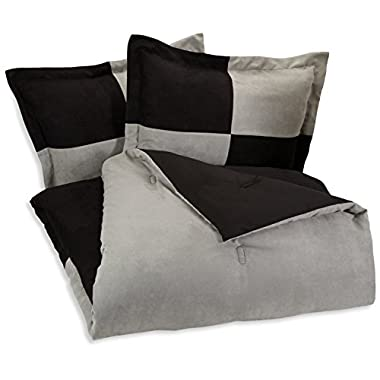 AmazonBasics 3-Piece Two-Tone Microsuede Comforter Set - Full/Queen, Black