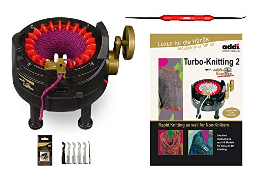 New Improved Version Of addi Express Professional Knitting Machine Extended Edition With Improved Row Counter, Pattern Book, Express Hook, Replacement Needles and 2 Stopper ()