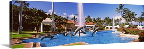 GreatBIGCanvas ''Dolphin Sculptures In A pool, Grand Wailea Resort Hotel and Spa, Maui, Hawaii'' Photographic Print with Black Frame, 48'' x 16''