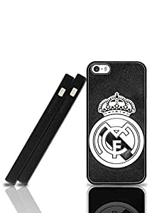 Hennas - La Liga Real Madrid Football Logo Iphone 5 Funda Case New style & Cute Pattern Black Protection With Antiskid Scratch Resistant Hard Funda Case Compatible With Iphone 5/Iphone 5s