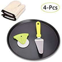 Pizza Pan Set, The Grafu 14 Inch Nonstick Bakeware Pizza Pan with Pizza Cutter, Stainless Steel Pizza Peel and Heat Resistant Gloves – 4 Pack
